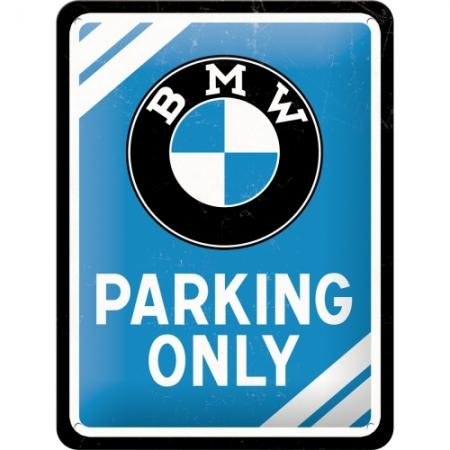 Metal Sign 15x20cm BMW - Parking Only Blue