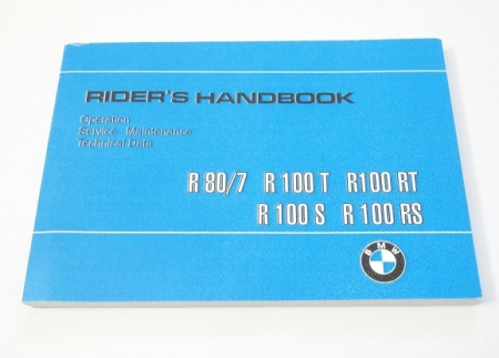 Owners manual (english) BMW R80/7, R100T, R100S, R100RT, R100RS 09/78-09/80